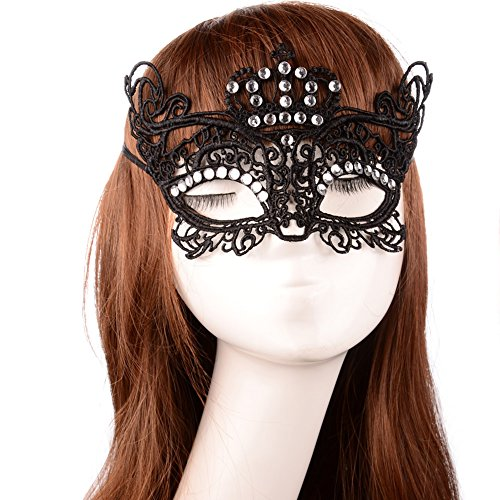 Hip Mall Luxury Lace Queen Crown Rhinestone Mask Masquerade Wedding Party Needments