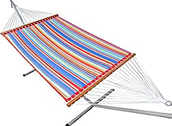 Hangit 13'FT Quilted fabric hammock swings for home outdoor - Multicolor Stripe