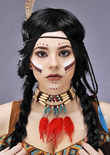 Indian Squaw Beaded Feather Necklace (Pocahontas Dress Up)