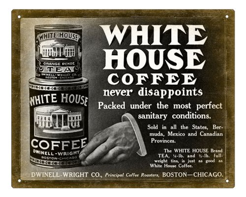 Coffee And Tea Can Sign White House Brand / Diner Deli Wall Decor Art 275