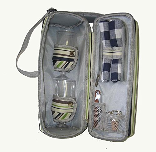Insulated Wine Set Carrier for 2 , Stripe from JanetBasket