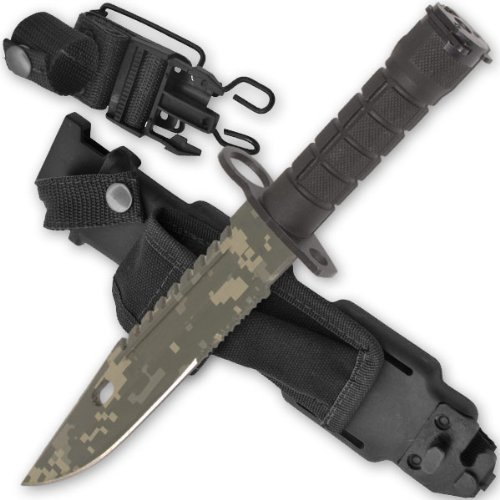14 M9 AR-15 / M16 Bayonet ACU Digital Camo Blade Knife With Sheath & Sharpening Stone рюкзак deuter guide 30 sl black titan 33563 7490
