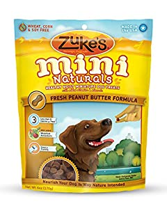 Zuke's Mini Naturals Dog Treats, Fresh Peanut Butter Formula, 6-Ounce