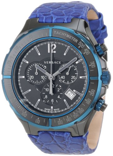 Versace Men's 28CCB8D082 S282 DV One Black Ceramic Case with Blue IP Tachymeter Bezel Black Dial Chronograph Date Blue Leather Watch