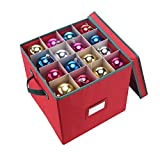 Elf Stor Premium Red Christmas Ornament Storage Chest Holds 64 Balls w/ Dividers