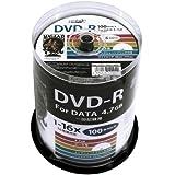 磁気研究所 HI DISK DVD-R データ記録用 16倍速 4.7GB ホワイトプリンタブル ピンドルケース 100枚 HDDR47JNP100