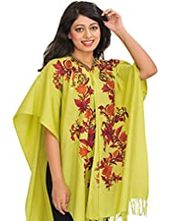 Exotic India Daiquiri-Green Cape From Kashmir With Ari Hand-Embroidered - Green