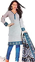 Its All About Me Women's Synthetic Unstitched Dress Material (EK03_Black Blue White_Free Size)