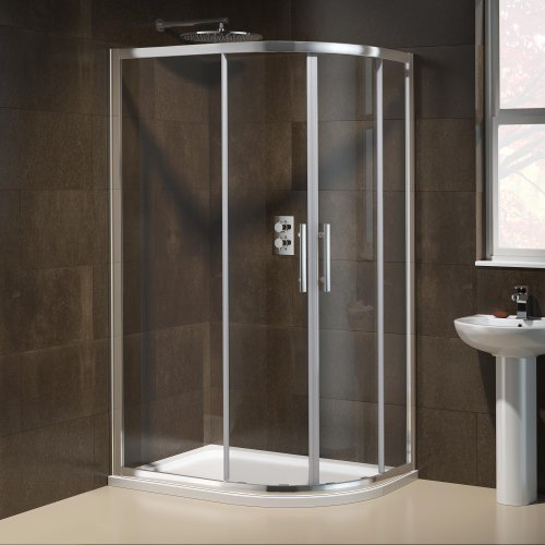 1000 x 800 mm Right Hand Offset Quadrant Easy Clean Shower Enclosure + Tray Set
