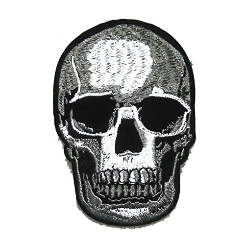 FairyMotion 1 Piece Realistic Skull Zombie Ghost Halloween Devil Biker Punk Rocker Jacket Shirt Iron On Patch Perfect (Cute Halloween Tombstone Sayings)