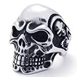 Konov Jewellery Vintage Stainless Steel Gothic Skull Biker Mens Ring, Colour Black Silver, Size Z+2 (with Gift Bag)