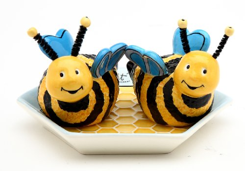 Appletree 2-Inch Ceramic Bee Salt and Pepper with Honeycombed Tray