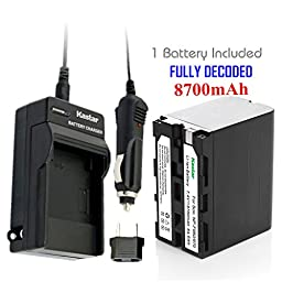 Kastar Battery (1-Pack) and Charger Kit for Sony NP-F970 NP-F960 F960 and DCR-VX2100 HDR-AX2000 FX1 FX7 FX1000 HVR-HD1000U V1U Z1P Z1U Z5U Z7U HXR-MC2000U FS100U FS700U and LED Video Light