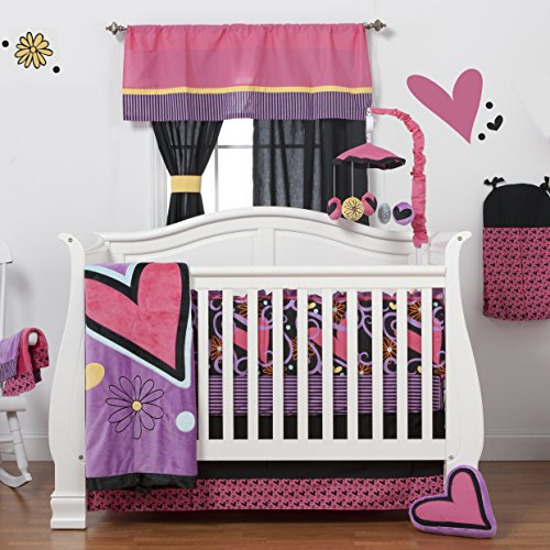 One Grace Place Sassy Shaylee Infant Crib Bedding Set, Black/Pink/Purple
