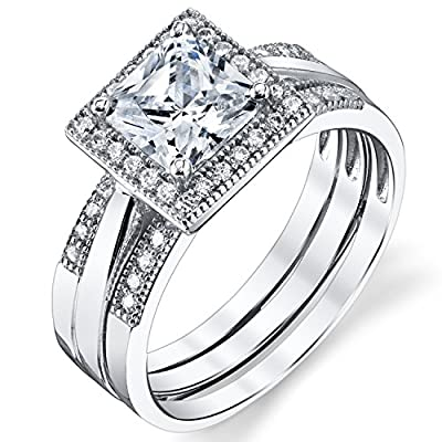 Ultimate Metals Co. ® 3 in 1 Sterling Silver 925 Princess Cut 1.25 Carat Cubic Zirconia Bridal Set Engagement Ring Wedding Band