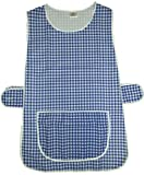 Ladies Checkered Home Work Tabards Aprons - ALL SIZES - COLOUR VARIATIONS - UK MADE (8-10 WMS SMALL, NAVY)