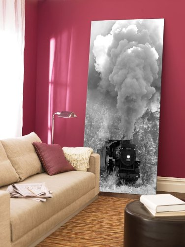 Startonight-Canvas-Wall-Art-Steam-Train-Retro-USA-Design-for-Home-Decor-Dual-View-Surprise-Artwork-Modern-Framed-Ready-to-Hang-Wall-Art-2362-x-472-Inch-100-Original-Art-Painting