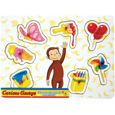 Picture of Fun Curious George Banana Background Peg Puzzle (B004ZGA5YQ) (Pegged Puzzles)
