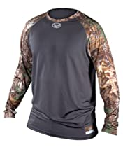 Louisville Slugger Adult Slugger Compression Raglan long Sleeve Shirt, XT Grey/Camo, Medium