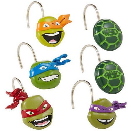 Durable and Long-Lasting Teenage Mutant Ninja Turtles Shower Curtain Hooks, Set of 12