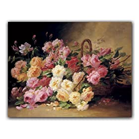 Basket of Roses - Box Set of 12 Greeting Cards and Patterned Envelopes