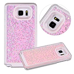 Galaxy Note 5 Case, UZZO Galaxy Note 5 Liquid Glitter Case, 3D Creative Design Flowing Liquid Floating Bling Glitter Sparkle Star Crystal Clear Hard Case Cover for Samsung Galaxy Note 5 (Heart Pink)