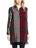 Guess Camisa Mujer Mixed Check (Rojo / Gris / Blanco)