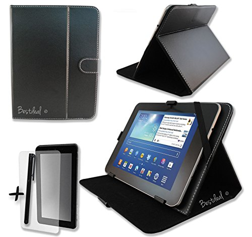 """Black Pu Leather Case & Stand For Cambridge Sciences Starpad 2 & 4 9.7"""" Inch Tablet Pc + Screen Protector And Stylus Pen"""