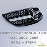Grille Sport for Mercedes R230 SL 2001-02/2006 Black Chrome AMG LOOK