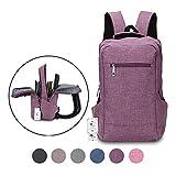 Winblo 15 15.6 Inch Lightweight Travel Laptop Backpack Bag Shoulder College Backpacks (Purple)