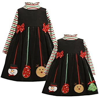 Size-4T BNJ-2944X 2-Piece RED GREEN Striped Knit Hanging Ornament Corduroy Jumper Holiday Dress Set,X62944 Bonnie Jean TODDLERS