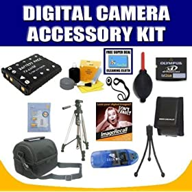 2GB Deluxe Accessory Kit For Olympus Stylus 7000, 550WP, FE-3000, FE-3010, FE-5000, FE-5010 Digital Cameras with Exclusive Complimentary Super Deal Micro Fiber Cleaning Cloth