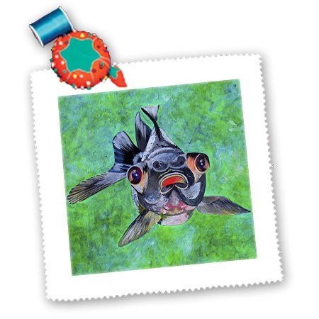 Qs_46714_3 Taiche - Acrylic Painting - Fish - Black Moor Goldfish - Black Moor Goldfish, Telescope Goldfish, Goldfish, Dragon Eye Goldfish - Quilt Squares - 8X8 Inch Quilt Square