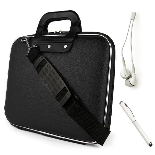 picture Fashion Faux Leather Hard Shell Cube, Shoulder Bag, Travel Carrying Case For The All New Kindle Fire HD 8.9 inch Android Tablet by Amazon + WHITE Crystal Clear High Quality HD Noise Filter Ear buds ( 3.5mm Jack ) + Professor Pen 3 in 1 Red Laser Pointer / LED White Light / Stylus / White Pen