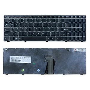 Replacement for Lenovo Ideapad Z560 Z560a Z565 Z565a Laptop Keyboard Grey Frame Us Layout
