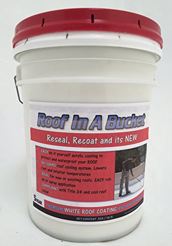 Roof In A Bucket - 5ga White Elastomeric Roof Coating (Shingle Paint compare prices)