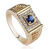 classico placcato oro giallo massiccio 925 anello in argento con zircone uomini tondo