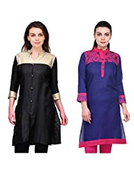 Cenizas Women's Cotton Black Kurtas Pack Of 2 ( 2155BLK & 2166BLU)