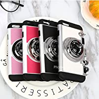 iPhone 6/6s/6 plus/6s plus Case,Guojia 3D Camera Design Case PC + Silicone Cover Case with Long Strap Rope (Moderate Hardness)
