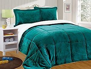 Chezmoi Collection 3-piece Micromink Sherpa Reversible Down Alternative Comforter Set (Queen, Teal)