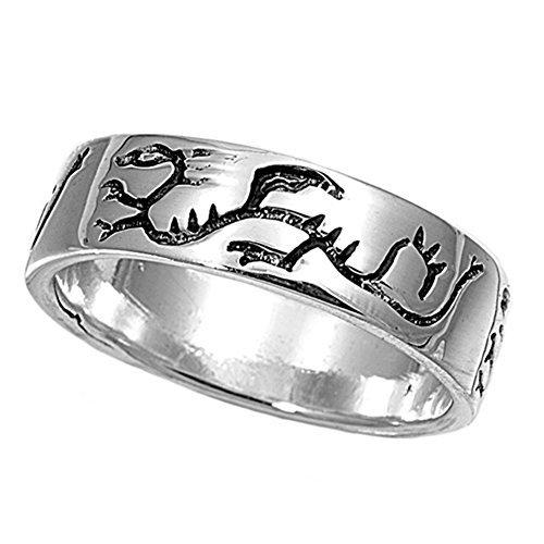 Sterling Silver Woman'S Men'S Dragon Engraved Ring Unique Comfort Fit Band 6Mm Size 8 Valentines Day Gift