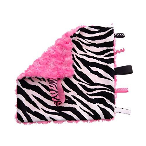 BBEmerald Baby Pacifier Taggie Blanket, Pink Zebra - 1
