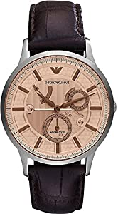 Emporio Armani AR4660 Mens Renato Meccanico Brown Leather Strap Watch