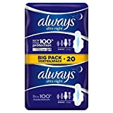 Always Ultra Night Sanitary Towels with Wings 20 per pack (PACK OF 2)