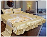 Ooltah Chashma Designer Home Décor Printed Double Bed Wedding Bedding Set (Set of 4) - Yellow, OCWS-019