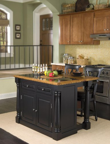 Cheap Monarch Kitchen Island with Granite Insert Top and Two Stools (5009-948)