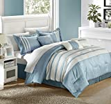 Chic Home Torino Pleated Piecing Luxury Bedding Collection 7-Piece Comforter Set, King, Blue