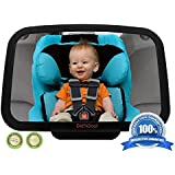 ? Baby Back Seat Mirror ? Shatterproof & Cadmium Free - No Center Headrest Required - Extra Large Rear Seat Car Mirror for Baby - 360-degree Adjustable Mirror Rotates and Pivots for that Perfect Viewing Angle - Larger than other brands and provides full sight of Rear Facing Infant Car Seat - Crystal Clear Reflection - 100% SATISFACTION GUARANTEED