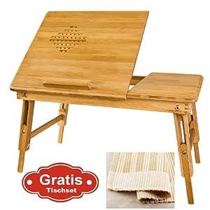 SoBuy FBT04-N Table de lit pliable pour PC portable/notebook double plateaux en bambou + un Set de Table gratuit