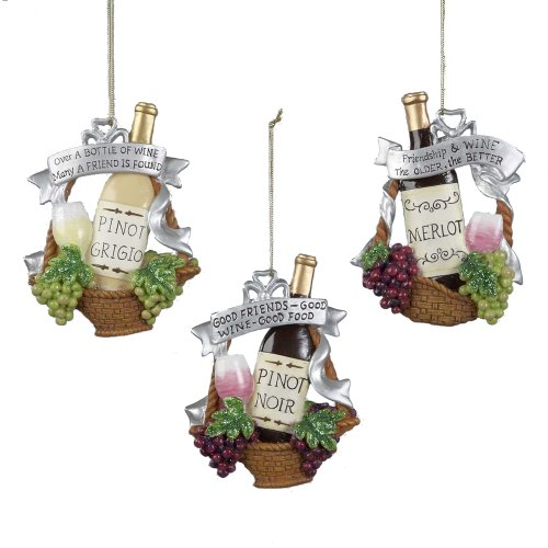 Kurt Adler 4.5-Inch Polyresin Wine Bottle in Basket with Grapes Ornament, Set of 4